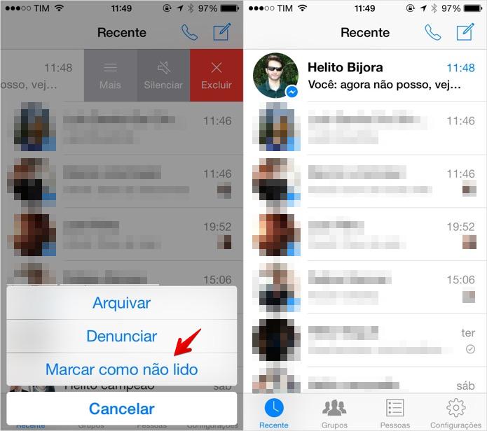 Marcando conversa como não lida no Facebook Messenger para iOS (Foto: Reprodução/Helito Bijora)