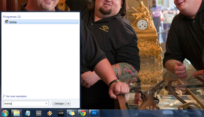 No menu iniciar, digite dxdiag e aperte Enter, ou clique no ícone
