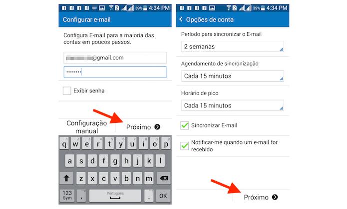 Definindo um conta de e-mail no Galaxy Gran Prime Duos (Foto: Reprodução/Marvin Costa)