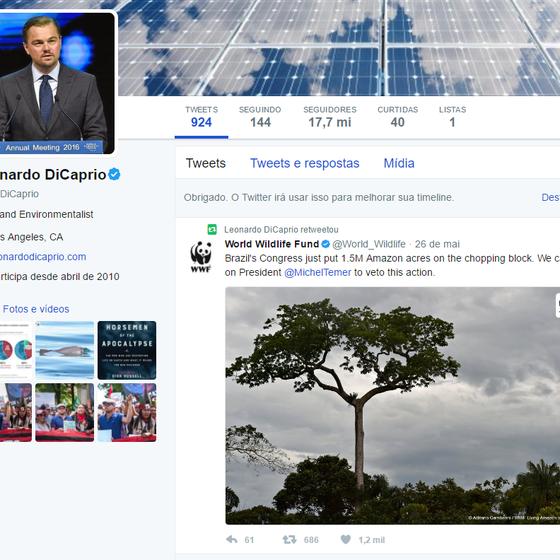 O ator Leonardo DiCaprio também usou as redes sociais para se manifestar (Foto: Reprodução)
