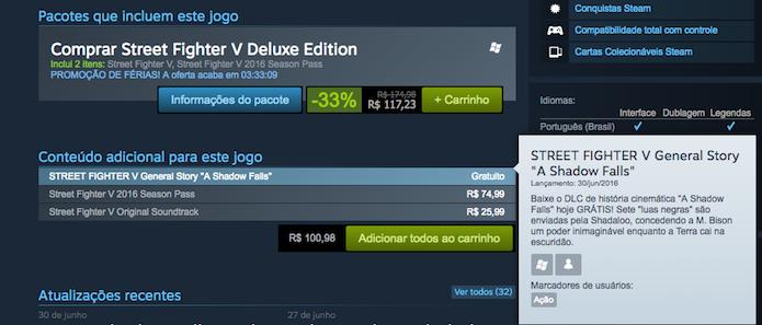 Busque o DLC de Street Fighter V na lista do Steam (Foto: Reprodução/Murilo Molina)