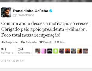 twitter Ronaldinho agradecimento Dilma (Foto: Reprodução / Twitter)