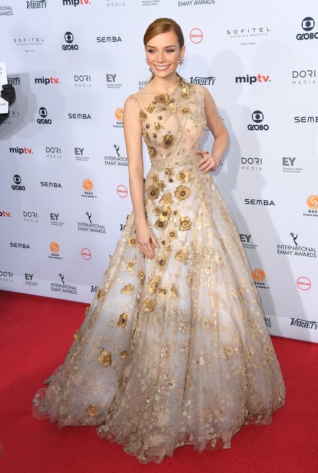 MAria Eugênia Suconic no Emmy Internacional, em Nova York (Foto: AFP)