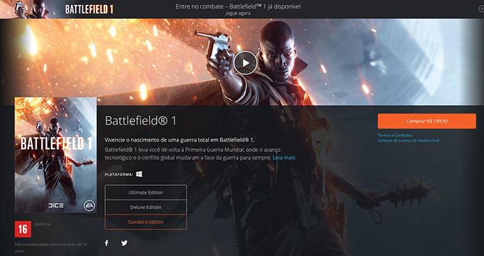 Escolha sua versão do Battlefield 1 (Foto: Reprodução/Murilo Molina)