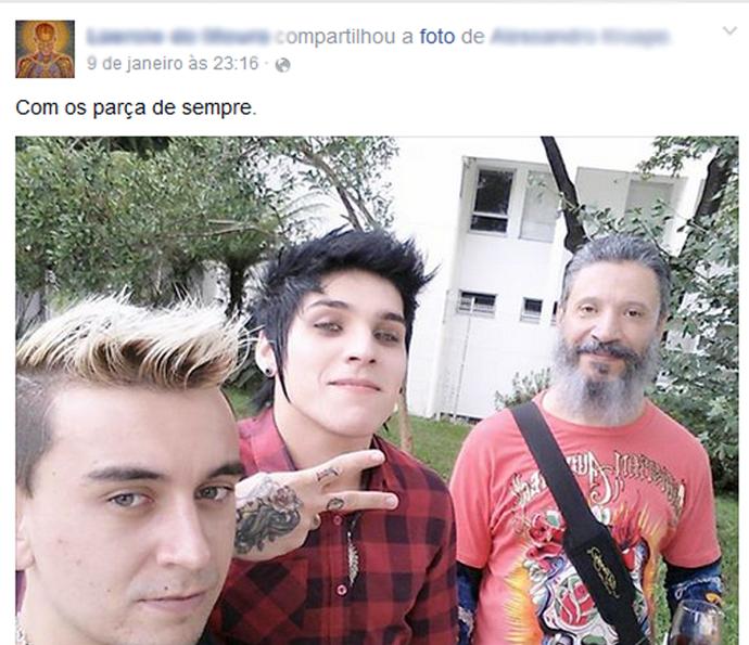 Último post de Laércio em uma rede social (Foto: Tv Globo)
