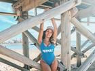 Gabi Lopes posa de maiô e brinca: 'Segurando o ar até agora'