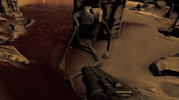 Nem mesmo o Dovahkiin de The Elder Scrolls 5: Skyrim teve chance contra os demônios do novo Doom (Foto: Reprodução/VG247)