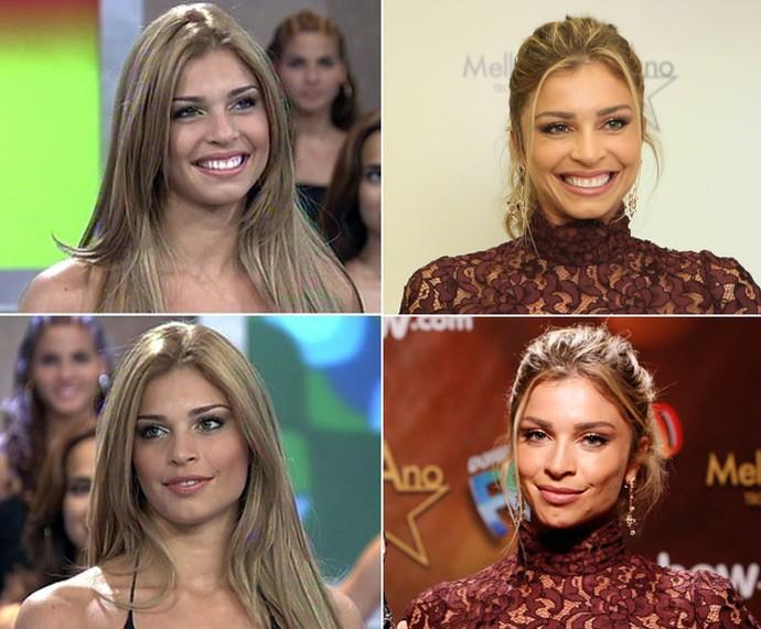 Grazi Massafera em 2005 logo depois do BBB e em 2015 no Melhores do Ano (Foto: TV Globo, Carol Caminha / Gshow e Ellen Soares / Gshow)