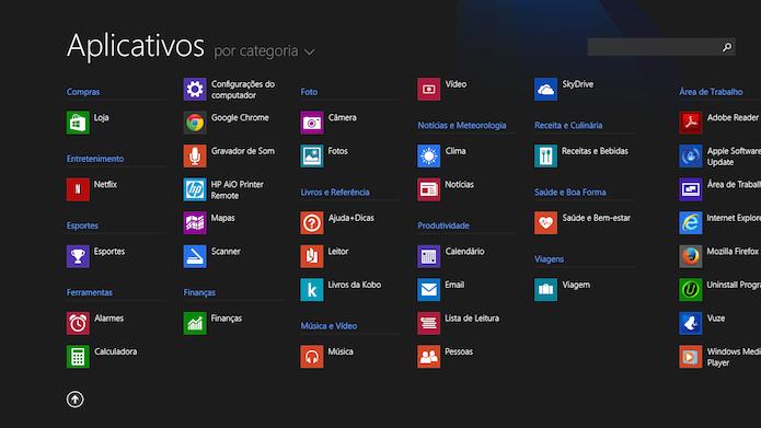 Visualização completa dos aplicativos do Windows 8.1 (Foto: Reprodução/Marvin Costa)