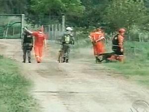 Buscas envolvem policiais, bombeiros, voluntários e cães farejadores (Foto: Reprodução/RBS TV)