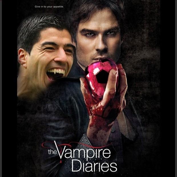 Ian Somerhalder, astro de 'The Vampire Diaries', em montagem ao lado do jogador uruguaio Luis Suárez (Foto: Instagram/ Reprodução)