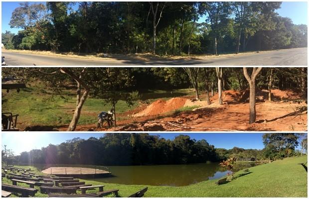 Parte do Jardim Botânico não tem calçamento e nem isolamento, parte está em obras e, em terceiro, área revitalizada em Goiânia (Foto: Paula Resende/ G1)
