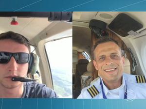 O co-piloto Bruno da Costa Pereira (esq.) e o piloto Sidney Prado (Foto: Reprodução/TV Rio Sul)