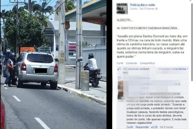 Ação de criminosos foi flagrada e postada no Fecebook (Foto: Reprodução/Facebook)