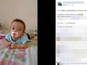 Matheus faria aniversário de 2 anos no próximo dia 21 (Foto: Reprodução/Facebook)