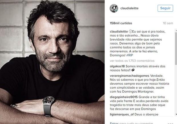 Assim como Ivete Sangalo, o post mais curtido de Claudia Leitte em 2016 foi o que ela prestou homenagem ao ator Domingos Montagner, no dia da morte dele, em 15 de setembro: 158 mil (Foto: Reprodução/Instagram)