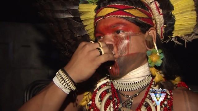 Festival Nacional de Cultura e Esporte Indígena em Bertioga (Foto: Reprodução/TV Tribuna)