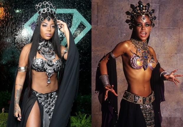 Ludmilla usou réplica de fantasia usada por Aaliyah no filme 'A Rainha dos Condenados' (Foto: Marcello Sá Barretto/AgNews e Divulgação)