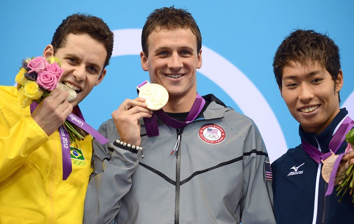 Ryan Lochte, Thiago Pereira e Kosuke Hagino, Natação, 400m (Foto: Agência AFP)