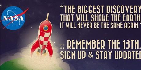 Imagem do site em que a Nasa promete uma importante descoberta em 13 de outubro (Foto: Divulgação)