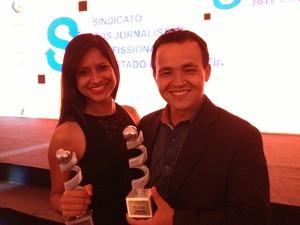 A repórter Jesana de Jesus, do G1 Tocantins, e Lucas Ferreira, da TV Anhanguera, foram premiados com o 1º lugar (Foto: Fabrício Soveral/G1)
