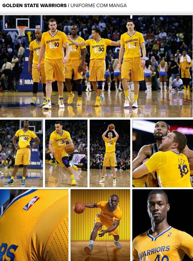 MOSAICO basquete NBA uniforme com manga golden state warriors (Foto: Agência Getty Images)