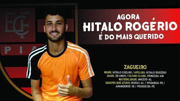 Hítalo Rogério, reforço do Flamengo-PI (Foto: Divulgação)