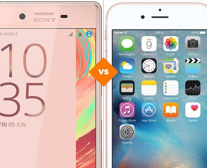 Confira o comparativo entre o Xperia X e o iPhone 6S (Foto: Arte/TechTudo)