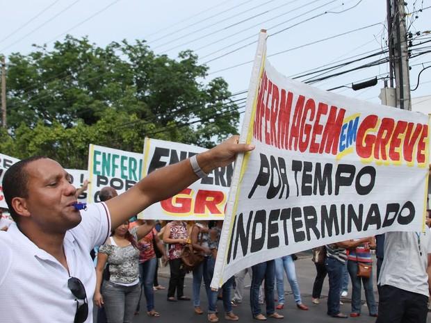 Enfermeiros em greve fazem protesto em Cuiabá (Foto: Sindicato dos Profissionais de Enfermagem de Mato Grosso)