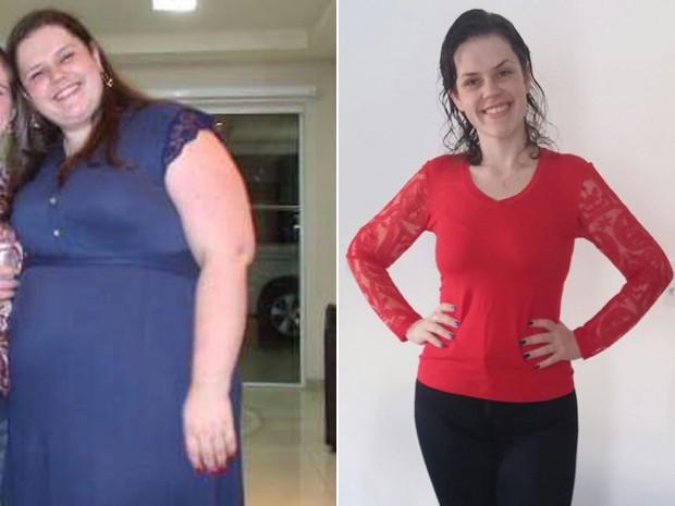 A jovem de Santa Catarina chegou a pesar 154 kg; hoje, atingiu sua meta e pesa 72 kg (Foto: Maryane Coan/Arquivo pessoal)