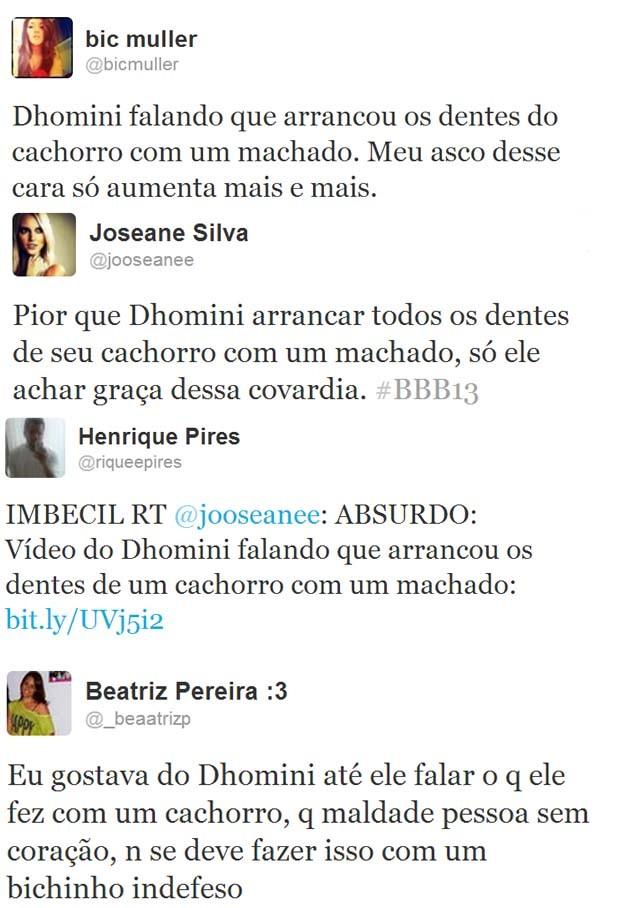 Twitts Dhomini BBB (Foto: Reprodução / twitter)