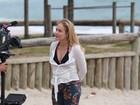 Angélica, Leonardo e o filho do cantor gravam programa em praia no Rio