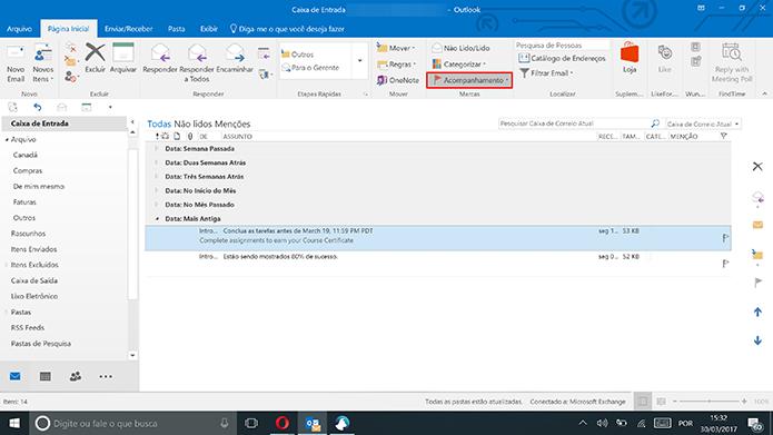 Selecione o e-mail no Outlook 2016 e clique em Acompanhamento (Foto: Reprodução/Elson de Souza)