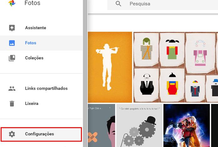 Abra as configurações do Fotos na web (Foto: Reprodução/Paulo Alves)