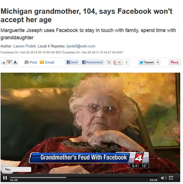 Emissora entrevistou mulher de 104 anos que não consegue publicar sua idade real no Facebook (Foto: Reprodução)