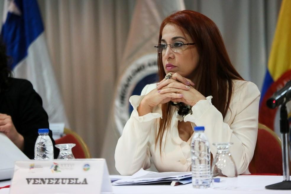 Antonieta Caporale divulgou dados de mortalidade infantil e materna (Foto: Pedro Ferrer/Ministério da Saúde da Venezuela)