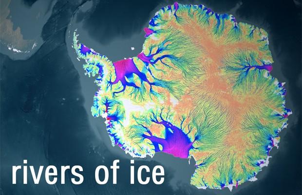 Mapa preparado pela Nasa movimentação do gelo no interior da Antártica (Foto: Divulgação/Nasa)