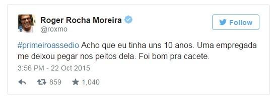 Publicação de Roger no Twitter que ironizava a campanha #primeiroassedio (Foto: Reprodução / Twitter)