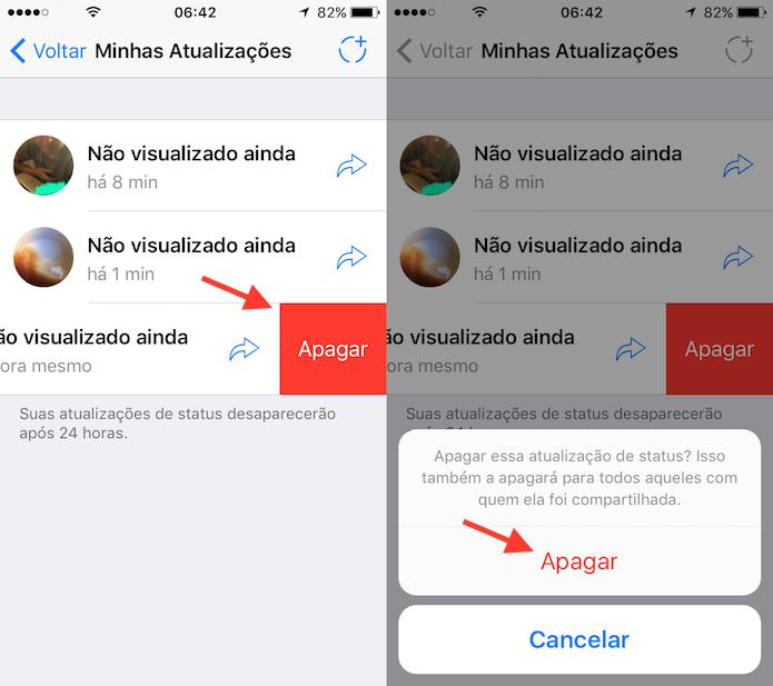 Ação para deletar um status do WhatsApp (Foto: Reprodução/Marvin Costa)