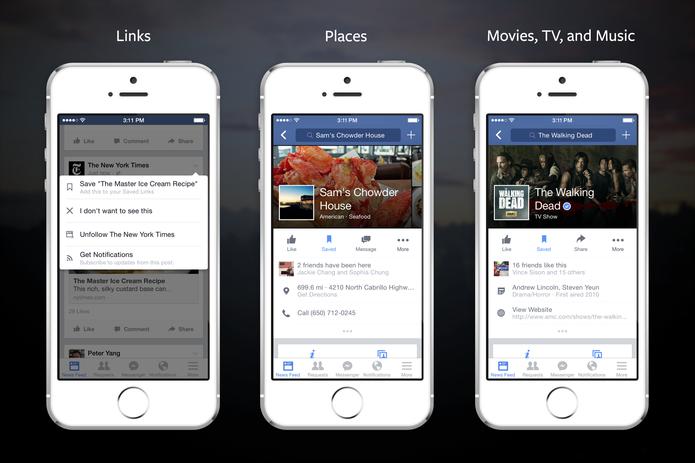 O processo de salvar link de notícias, por exemplo, é muito simples no celular e na web (Foto: Divulgação/Facebook)