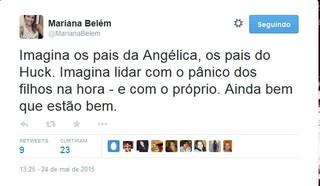 Mariana Belém fala sobrea Angélica e Luciano Huck (Foto: Reprodução/Twitter)