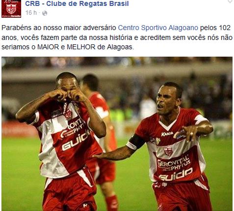 CRB provoca CSA pelas redes sociais (Foto: Reprodução Facebook)