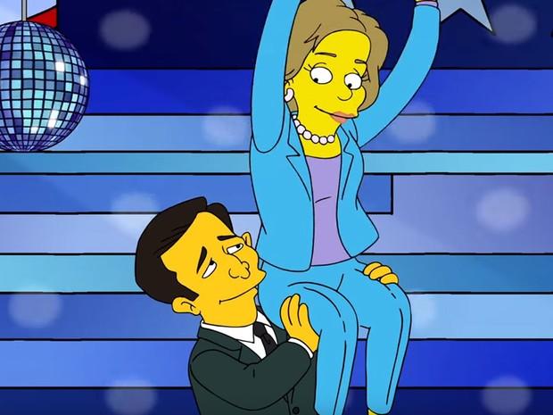 Ted Cruz segura Hillary Clinton em cena de 'Os Simpsons' (Foto: Reprodução/Youtube)