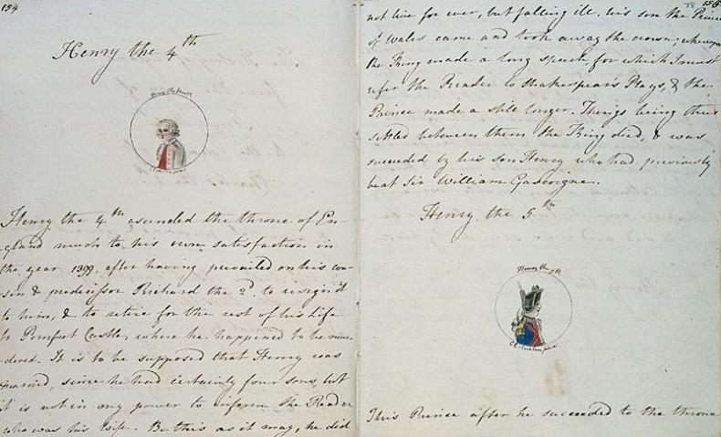 Jane Austen escreveu uma versão da história da Inglaterra quando tinha 15 anos - bem antes de criar Lizzie Bennet e Mr. Darcy (Foto: biblioteca britânica)