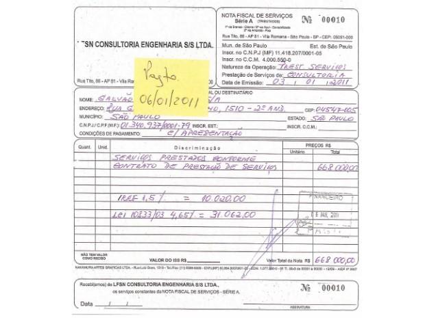 Comprovante de pagamento de propina da Galvão Engenharia (Foto: Reprodução)