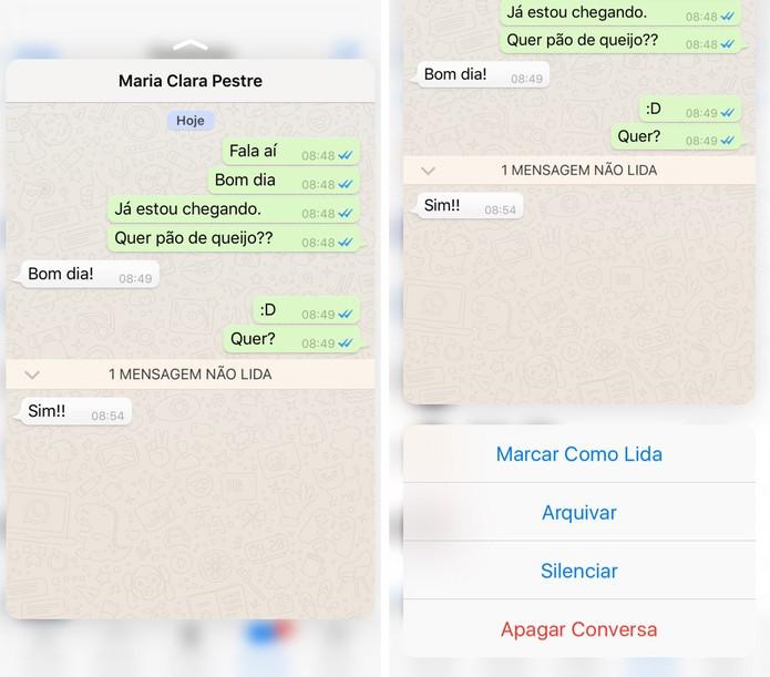 Atualização do WhatsApp permite preview de imagens com o 3D Touch do iPhone (Foto: Reprodução)