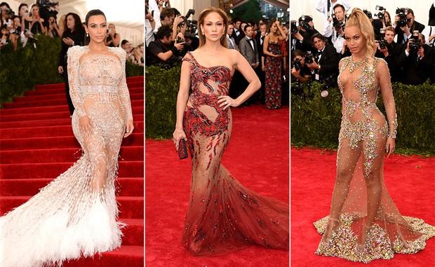 Kim Kardashian, Jennifer Lopez e Beyoncé (Foto: Getty Images / AFP)