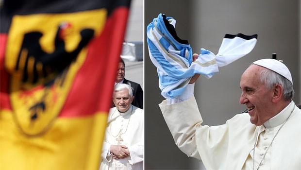 À esquerda, o alemão Papa Emérito Bento XVI; à direita, o argentino Papa Francisco (Foto: Filippo Monteforte/AFP/Arquivo e Alessandro Bianchi/Reuters)