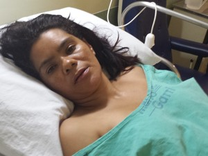 Lucilena Santos Prado, internada há uma semana no hospital Mário Gatti (Foto: Hildeberto Jr./G1)