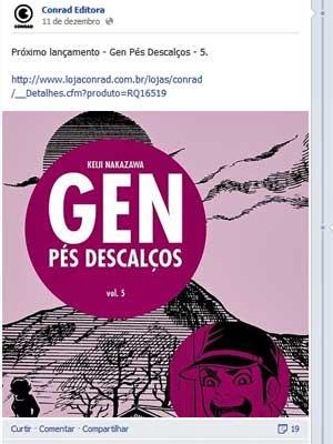 'Gen - pés descalços', da Conrad Editora.  (Foto: Reprodução / Facebook / Conrad Editora)